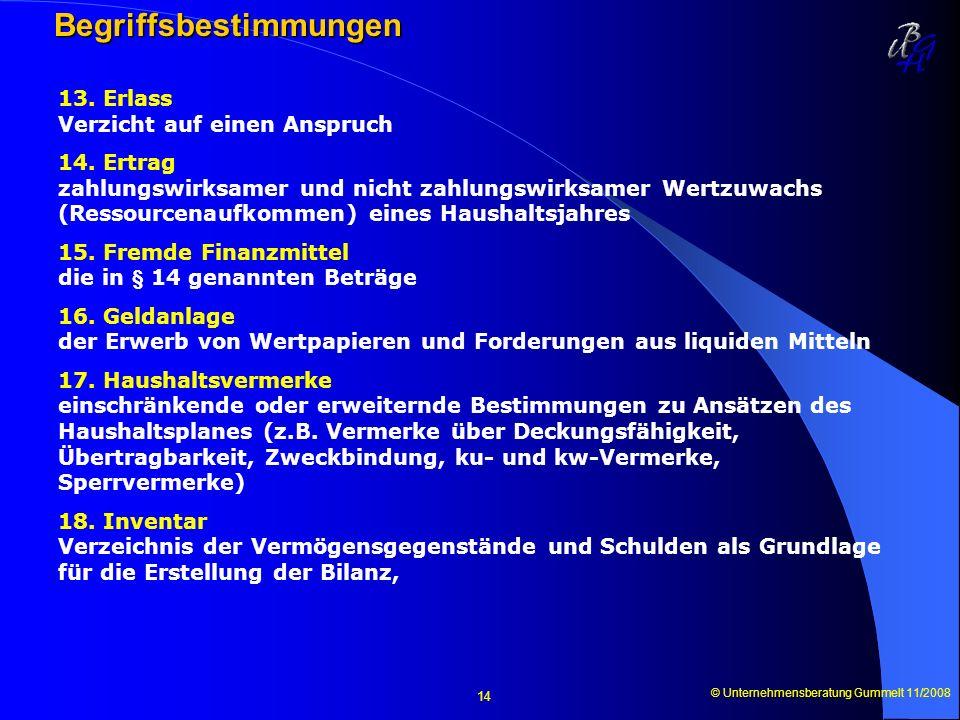 © Unternehmensberatung Gummelt 11/2008 14 Begriffsbestimmungen Begriffsbestimmungen 13. Erlass Verzicht auf einen Anspruch 14. Ertrag zahlungswirksame