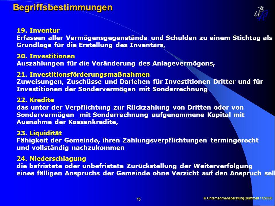 © Unternehmensberatung Gummelt 11/2008 15 Begriffsbestimmungen 19. Inventur Erfassen aller Vermögensgegenstände und Schulden zu einem Stichtag als Gru