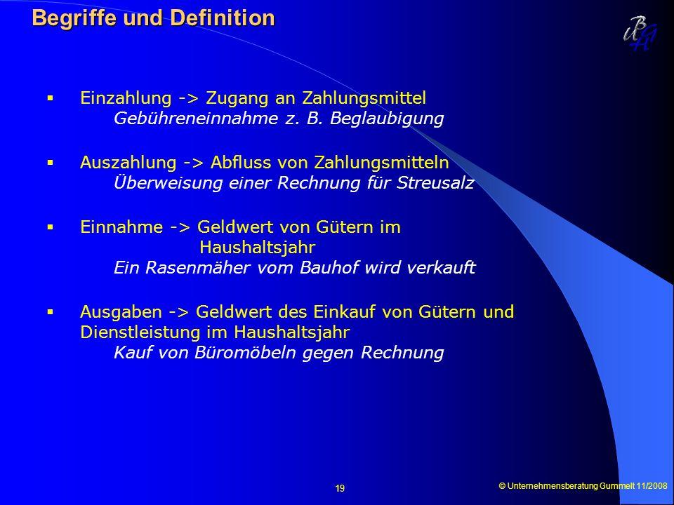 © Unternehmensberatung Gummelt 11/2008 19 Begriffe und Definition Begriffe und Definition Einzahlung -> Zugang an Zahlungsmittel Gebühreneinnahme z. B
