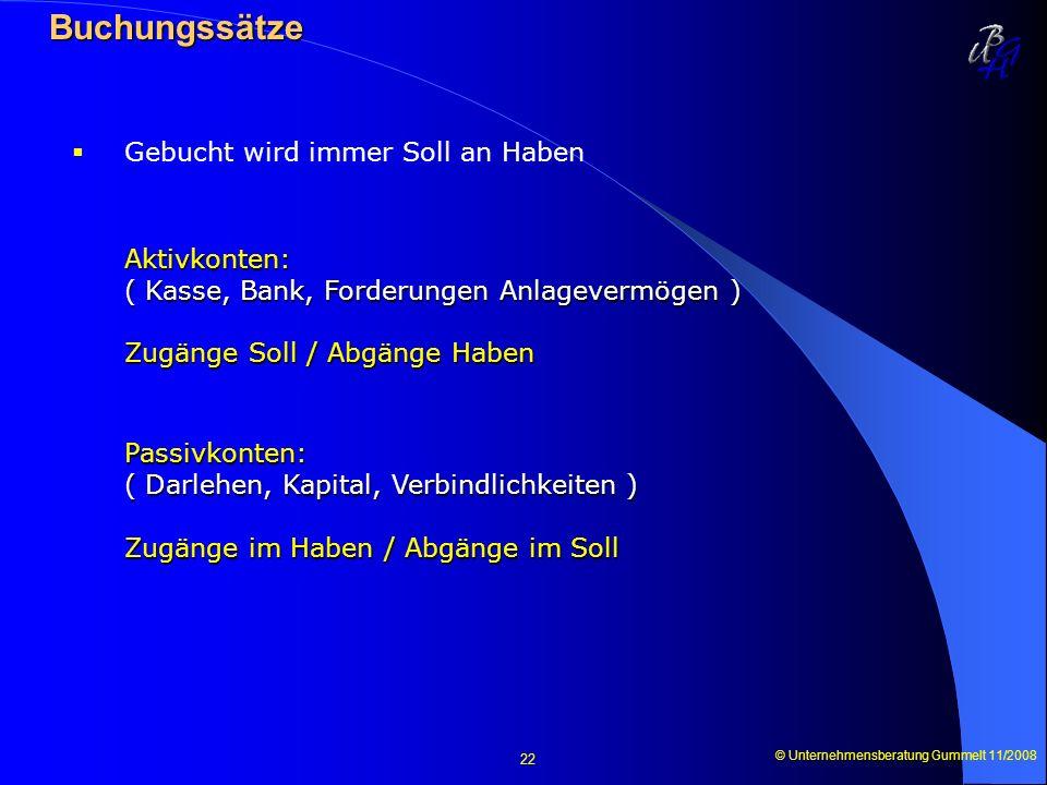 © Unternehmensberatung Gummelt 11/2008 22 Buchungssätze Buchungssätze Gebucht wird immer Soll an Haben Aktivkonten: ( Kasse, Bank, Forderungen Anlagev