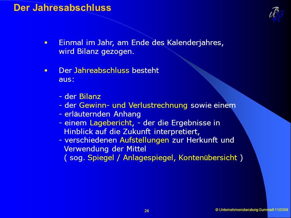 © Unternehmensberatung Gummelt 11/2008 24 Der Jahresabschluss Einmal im Jahr, am Ende des Kalenderjahres, wird Bilanz gezogen. Der Jahreabschluss best