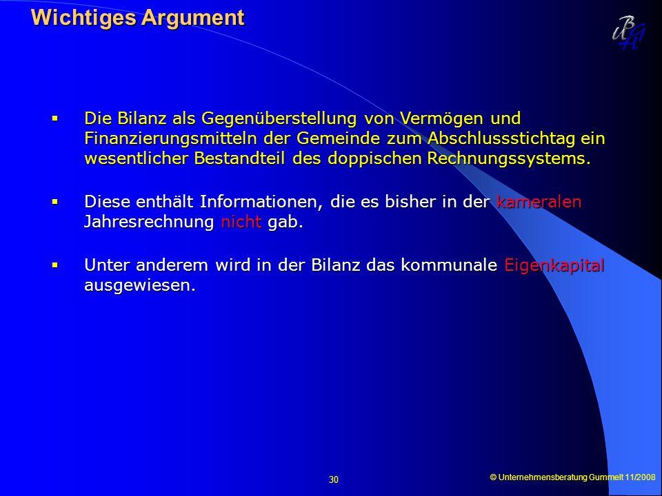 © Unternehmensberatung Gummelt 11/2008 30 Wichtiges Argument Wichtiges Argument Die Bilanz als Gegenüberstellung von Vermögen und Finanzierungsmitteln