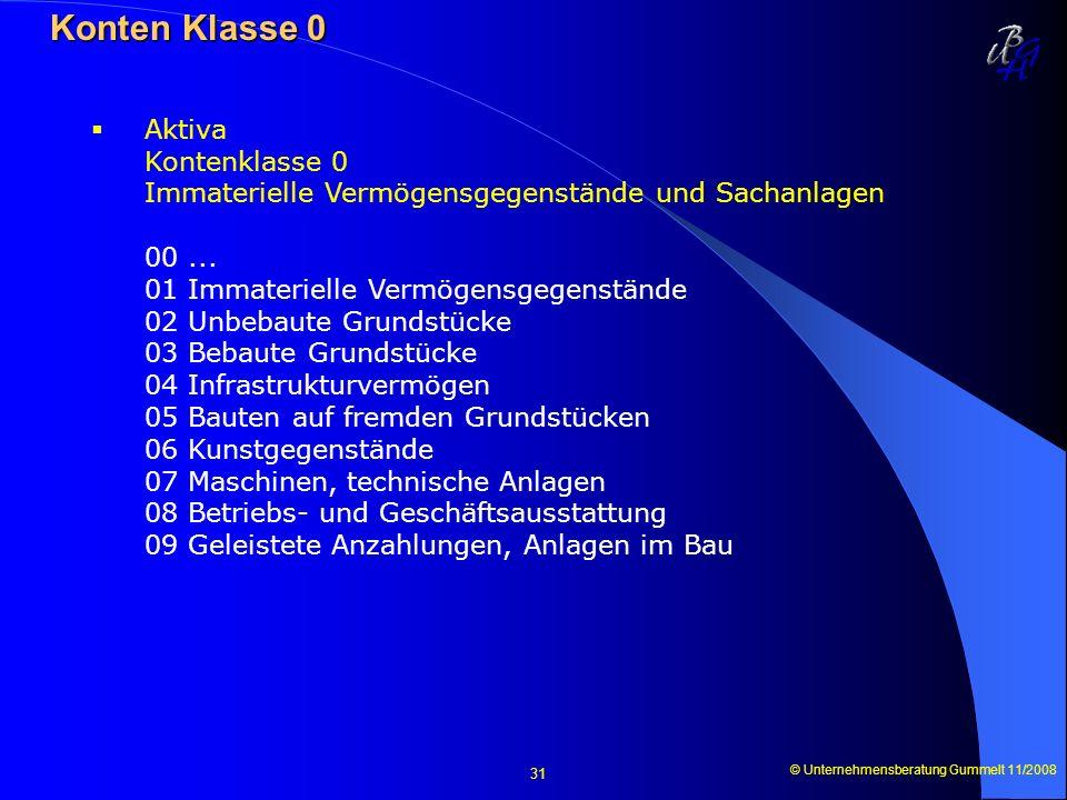 © Unternehmensberatung Gummelt 11/2008 31 Konten Klasse 0 Konten Klasse 0 Aktiva Kontenklasse 0 Immaterielle Vermögensgegenstände und Sachanlagen 00..