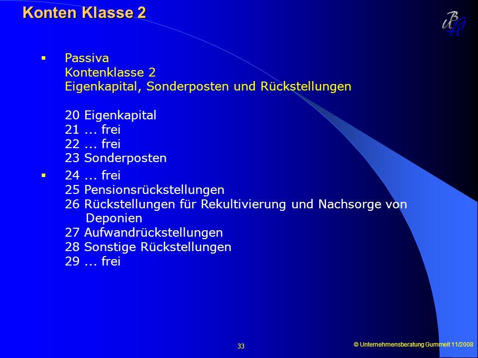 © Unternehmensberatung Gummelt 11/2008 33 Konten Klasse 2 Konten Klasse 2 Passiva Kontenklasse 2 Eigenkapital, Sonderposten und Rückstellungen 20 Eige