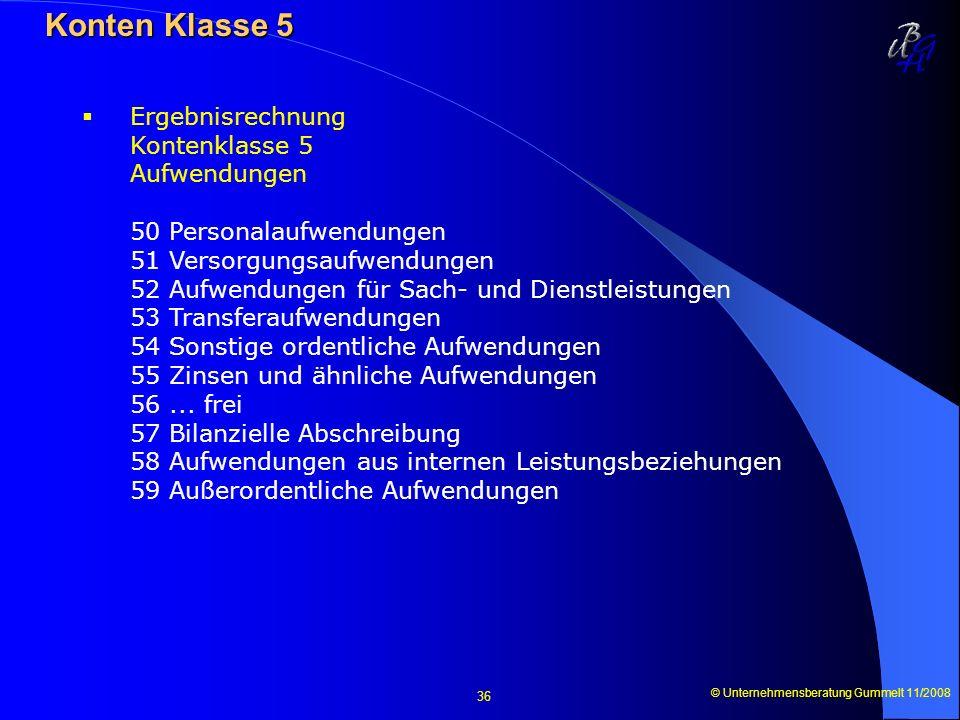 © Unternehmensberatung Gummelt 11/2008 36 Konten Klasse 5 Konten Klasse 5 Ergebnisrechnung Kontenklasse 5 Aufwendungen 50 Personalaufwendungen 51 Vers