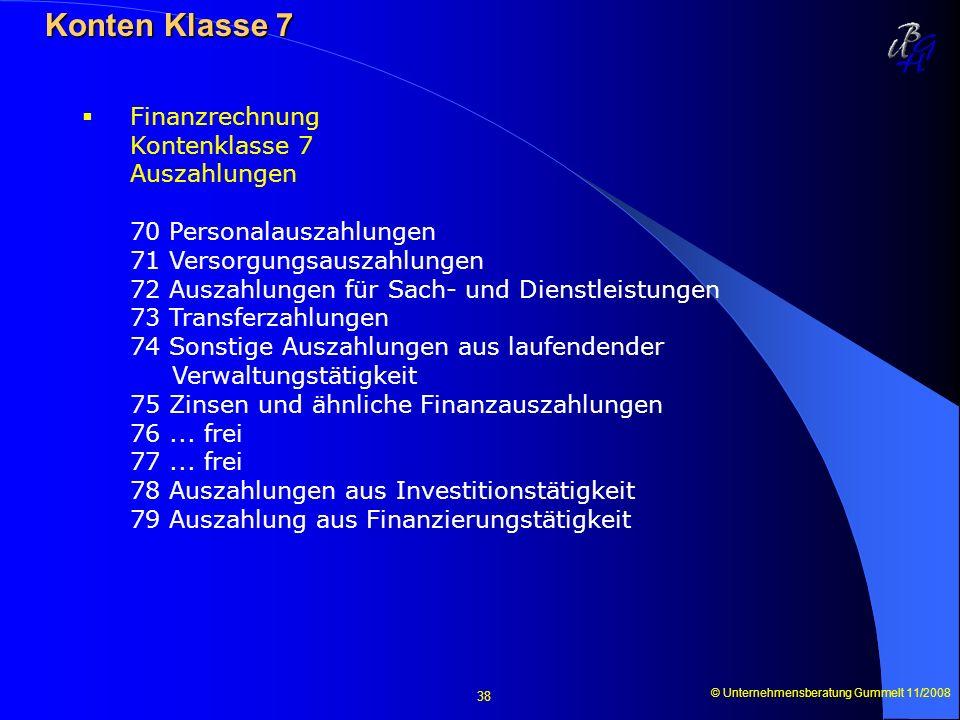 © Unternehmensberatung Gummelt 11/2008 38 Konten Klasse 7 Konten Klasse 7 Finanzrechnung Kontenklasse 7 Auszahlungen 70 Personalauszahlungen 71 Versor