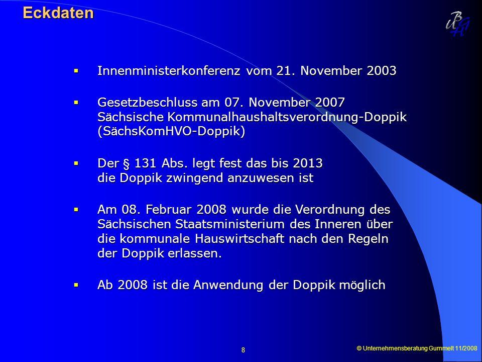 © Unternehmensberatung Gummelt 11/2008 8 Eckdaten Eckdaten Innenministerkonferenz vom 21. November 2003 Innenministerkonferenz vom 21. November 2003 G