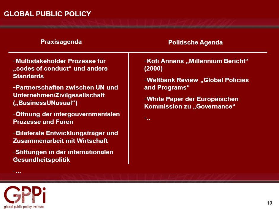 9 POLITISCHE ALTERNATIVEN UND ENTWICKLUNGSSZENARIEN Defensive Intervention Regionale Integration Weltregierung Regierungsnetzwerke Global Public Polic