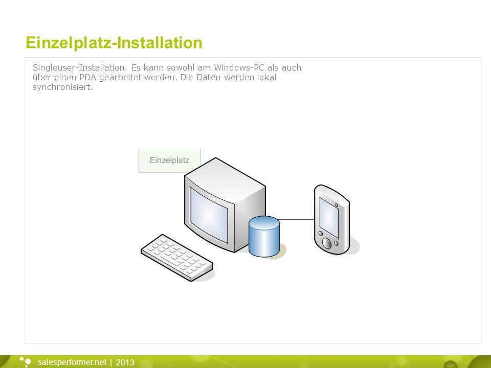 2013 salesperformer.net | Einzelplatz-Installation Singleuser-Installation. Es kann sowohl am Windows-PC als auch über einen PDA gearbeitet werden. Di