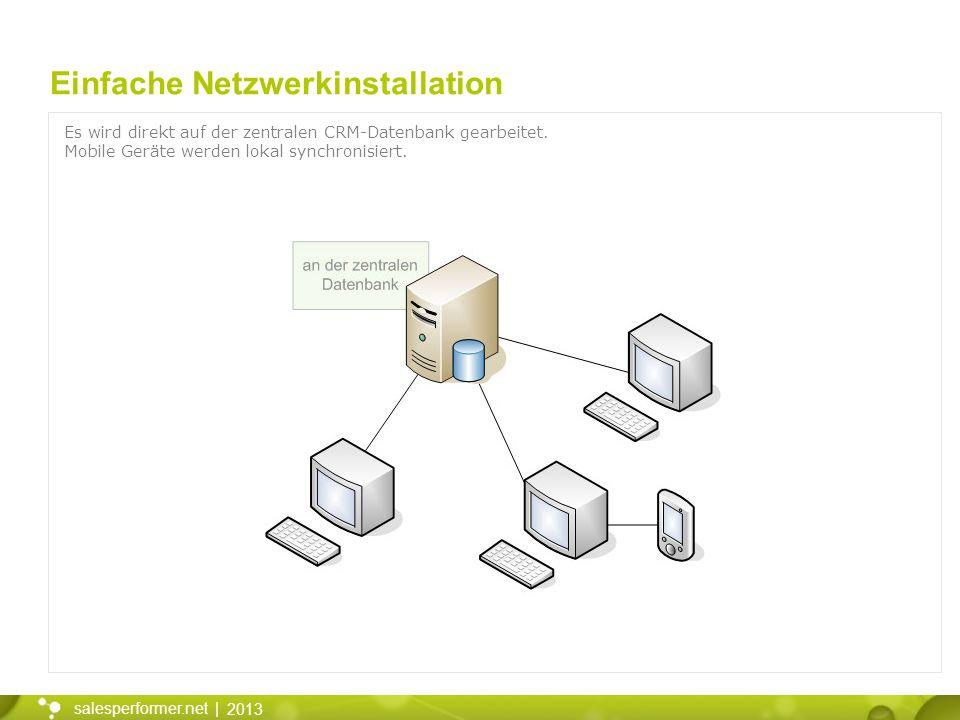 2013 salesperformer.net | Einfache Netzwerkinstallation Es wird direkt auf der zentralen CRM-Datenbank gearbeitet. Mobile Geräte werden lokal synchron