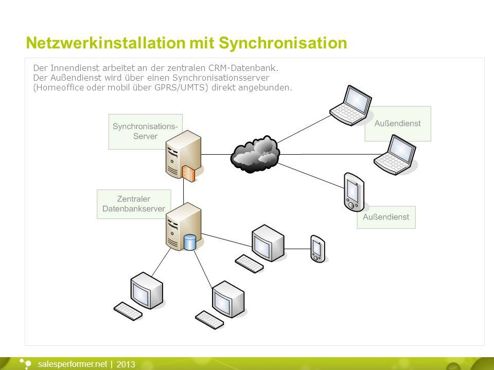 2013 salesperformer.net | Netzwerkinstallation mit Synchronisation Der Innendienst arbeitet an der zentralen CRM-Datenbank. Der Außendienst wird über
