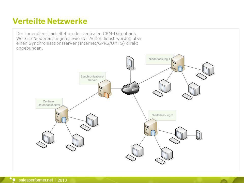 2013 salesperformer.net | Verteilte Netzwerke Der Innendienst arbeitet an der zentralen CRM-Datenbank. Weitere Niederlassungen sowie der Außendienst w