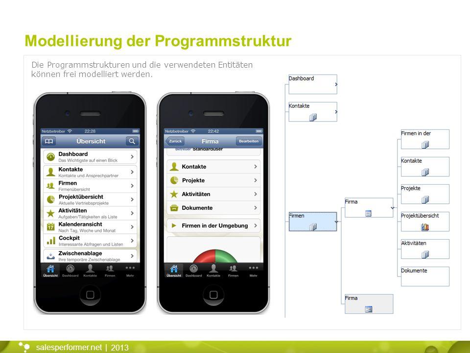 2013 salesperformer.net | Modellierung der Programmstruktur Die Programmstrukturen und die verwendeten Entitäten können frei modelliert werden.