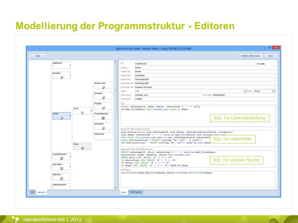 2013 salesperformer.net | Modellierung der Programmstruktur - Editoren SQL für Listendarstellung SQL für Listenfilter SQL für globale Suche