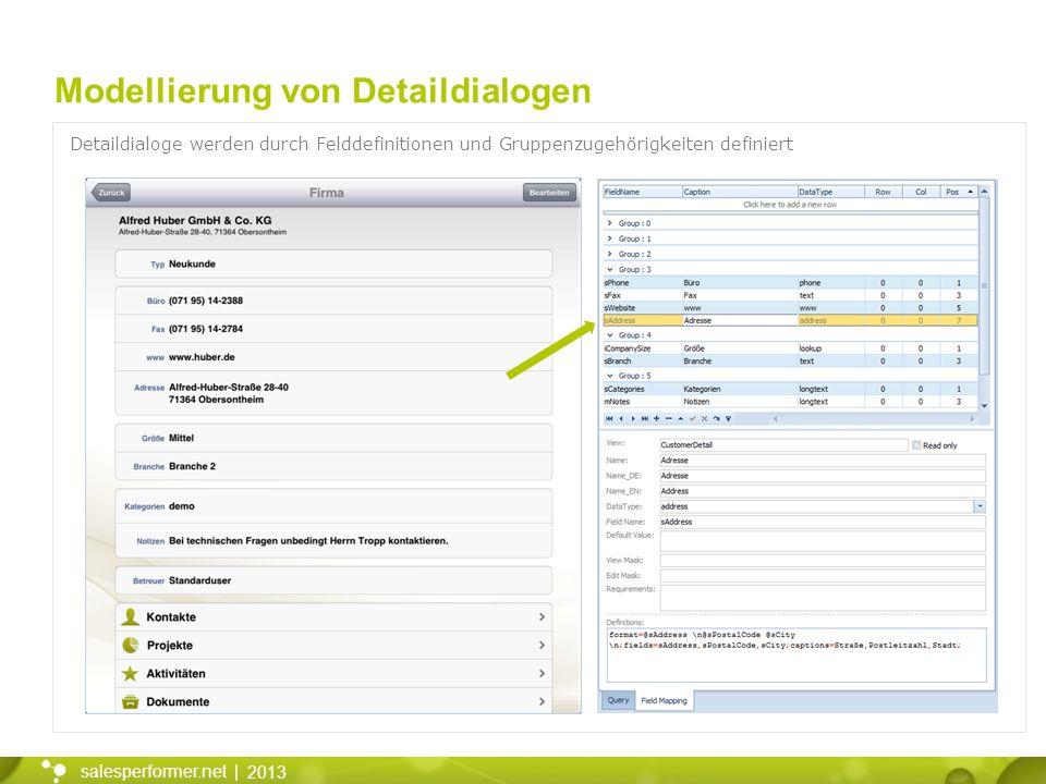 2013 salesperformer.net | Modellierung von Detaildialogen Detaildialoge werden durch Felddefinitionen und Gruppenzugehörigkeiten definiert