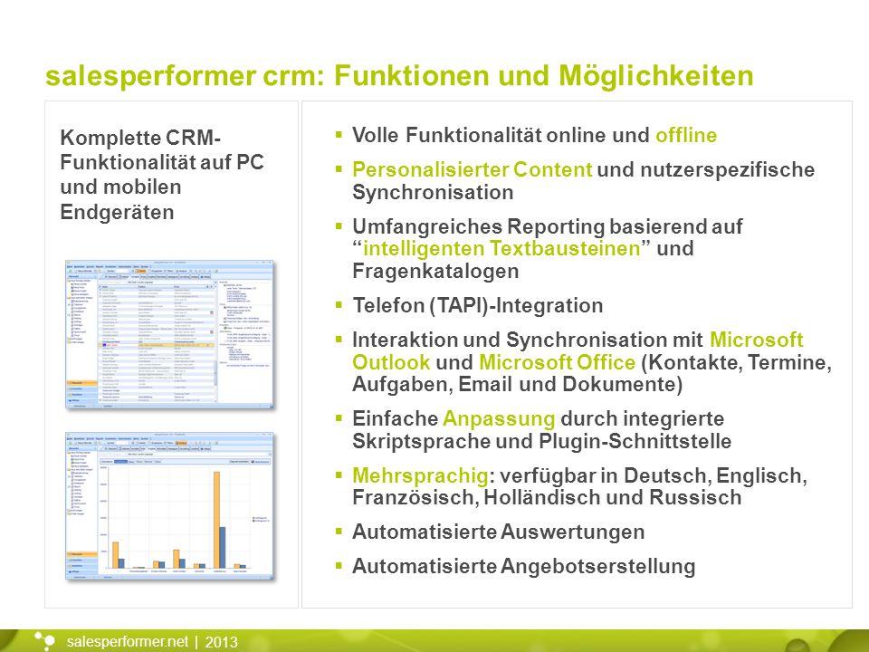2013 salesperformer.net | Komplette CRM- Funktionalität auf PC und mobilen Endgeräten Volle Funktionalität online und offline Personalisierter Content