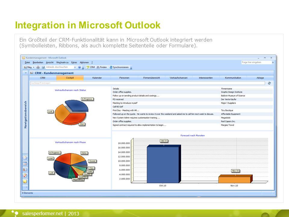 2013 salesperformer.net | Integration in Microsoft Outlook Ein Großteil der CRM-Funktionalität kann in Microsoft Outlook integriert werden (Symbolleisten, Ribbons, als auch komplette Seitenteile oder Formulare).