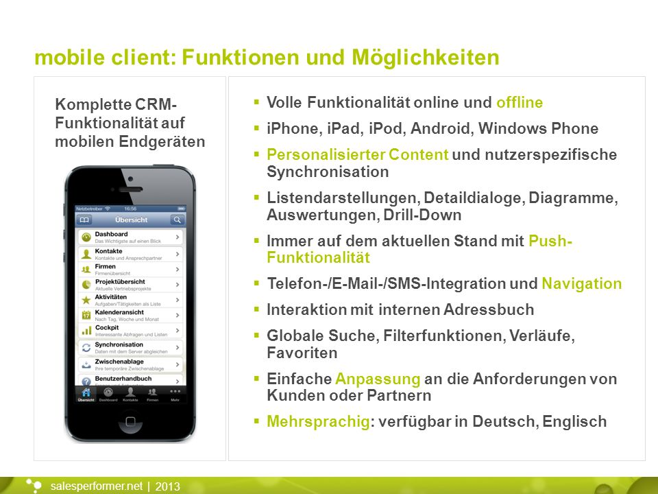 2013 salesperformer.net | Komplette CRM- Funktionalität auf mobilen Endgeräten Volle Funktionalität online und offline iPhone, iPad, iPod, Android, Wi