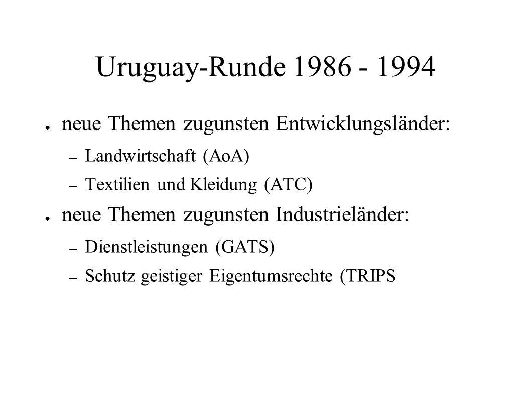 Uruguay-Runde 1986 - 1994 neue Themen zugunsten Entwicklungsländer: – Landwirtschaft (AoA) – Textilien und Kleidung (ATC) neue Themen zugunsten Indust