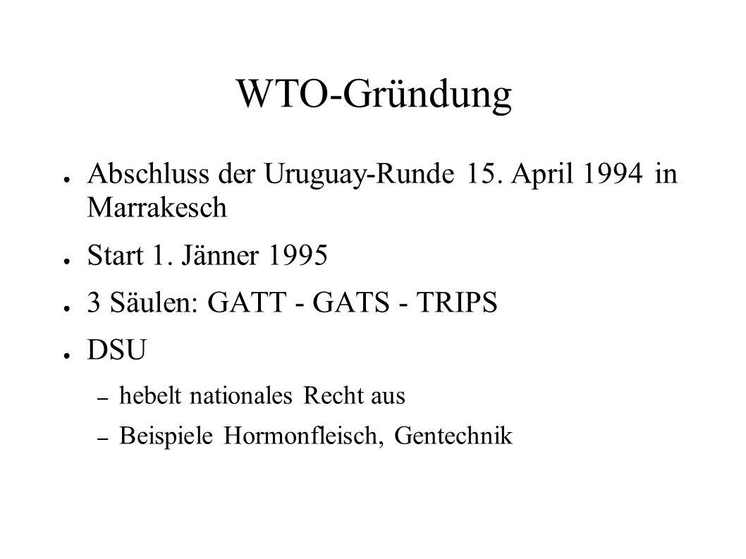 WTO-Gründung Abschluss der Uruguay-Runde 15. April 1994 in Marrakesch Start 1. Jänner 1995 3 Säulen: GATT - GATS - TRIPS DSU – hebelt nationales Recht