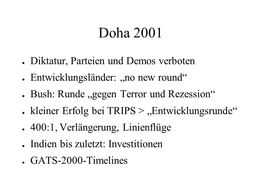 Doha 2001 Diktatur, Parteien und Demos verboten Entwicklungsländer: no new round Bush: Runde gegen Terror und Rezession kleiner Erfolg bei TRIPS > Ent