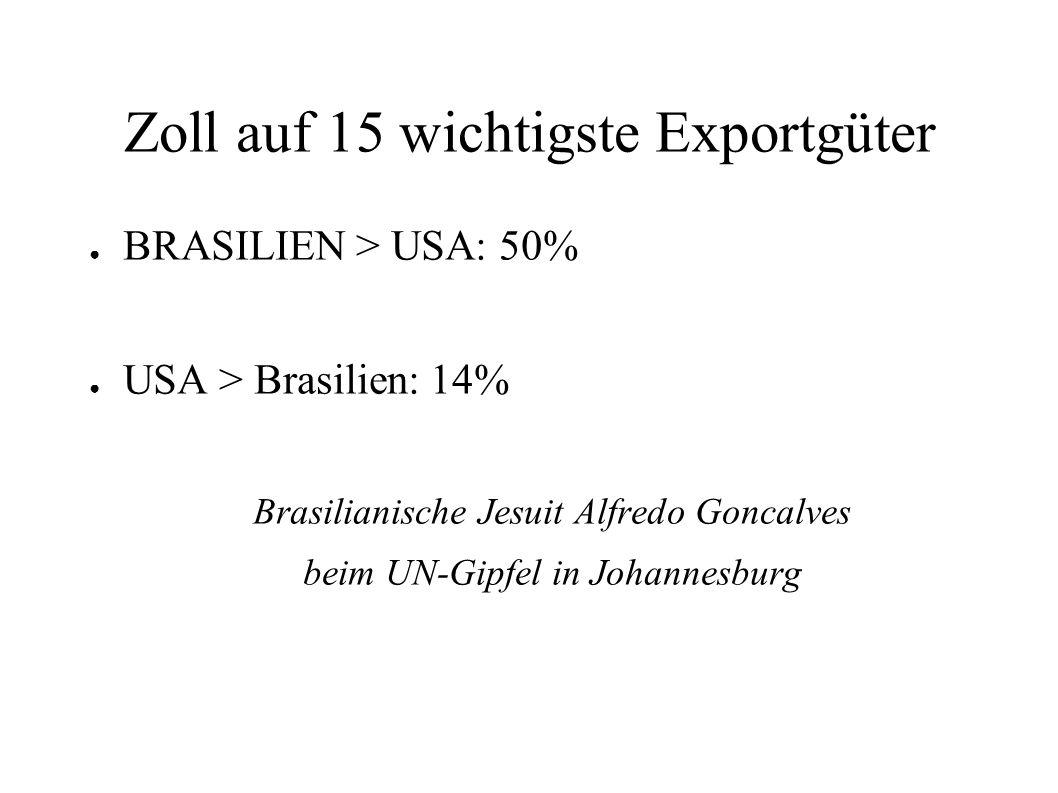 Zoll auf 15 wichtigste Exportgüter BRASILIEN > USA: 50% USA > Brasilien: 14% Brasilianische Jesuit Alfredo Goncalves beim UN-Gipfel in Johannesburg