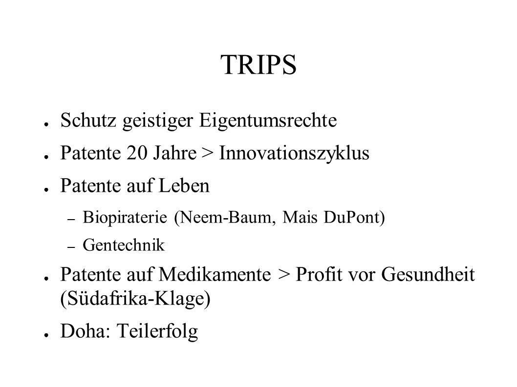 TRIPS Schutz geistiger Eigentumsrechte Patente 20 Jahre > Innovationszyklus Patente auf Leben – Biopiraterie (Neem-Baum, Mais DuPont) – Gentechnik Pat