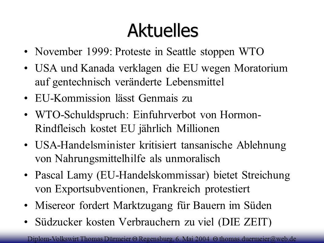 Aktuelles November 1999: Proteste in Seattle stoppen WTO USA und Kanada verklagen die EU wegen Moratorium auf gentechnisch veränderte Lebensmittel EU-