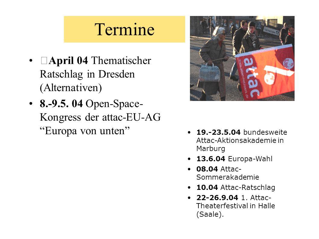 Termine April 04 Thematischer Ratschlag in Dresden (Alternativen) 8.-9.5. 04 Open-Space- Kongress der attac-EU-AG Europa von unten 19.-23.5.04 bundesw
