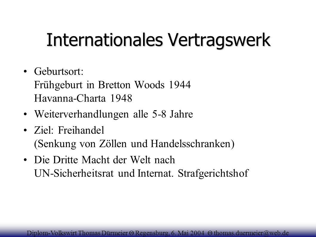 Internationales Vertragswerk Geburtsort: Frühgeburt in Bretton Woods 1944 Havanna-Charta 1948 Weiterverhandlungen alle 5-8 Jahre Ziel: Freihandel (Sen