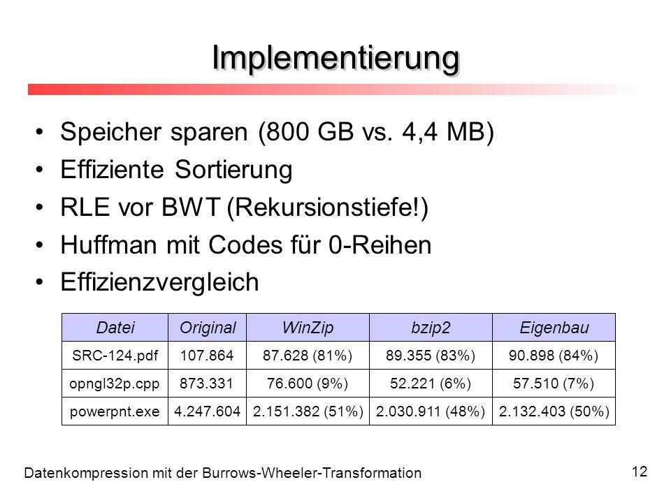 Datenkompression mit der Burrows-Wheeler-Transformation 12 Speicher sparen (800 GB vs. 4,4 MB) Effiziente Sortierung RLE vor BWT (Rekursionstiefe!) Hu