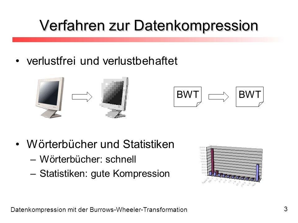 Datenkompression mit der Burrows-Wheeler-Transformation 3 Verfahren zur Datenkompression verlustfrei und verlustbehaftet Wörterbücher und Statistiken