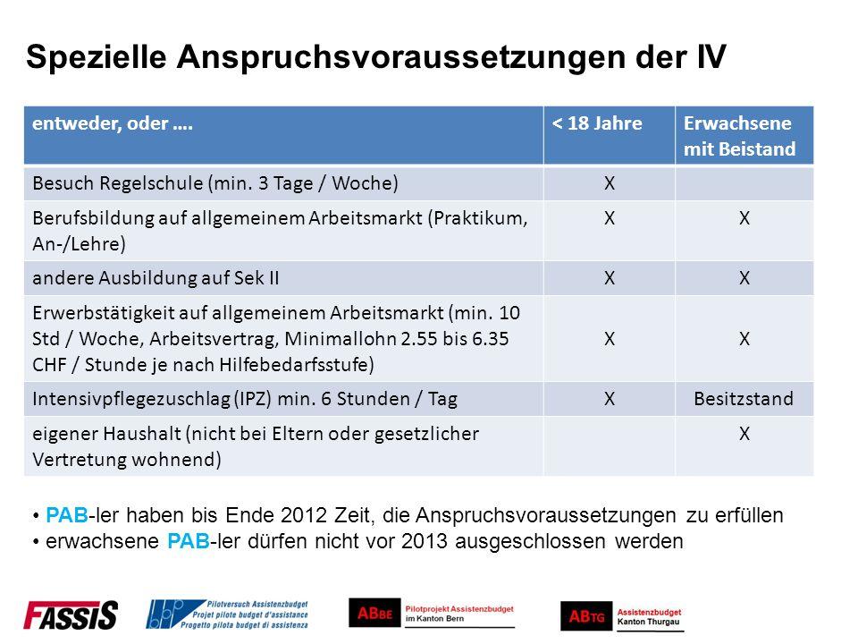 Spezielle Anspruchsvoraussetzungen der IV entweder, oder ….< 18 JahreErwachsene mit Beistand Besuch Regelschule (min. 3 Tage / Woche)X Berufsbildung a