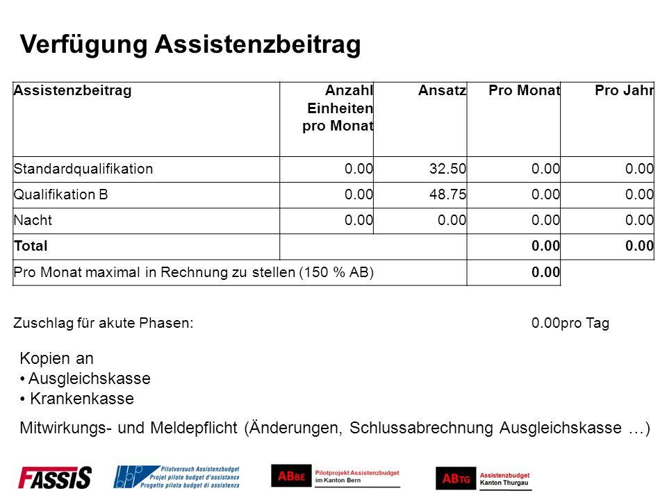 Verfügung Assistenzbeitrag AssistenzbeitragAnzahl Einheiten pro Monat AnsatzPro MonatPro Jahr Standardqualifikation0.0032.500.00 Qualifikation B0.0048