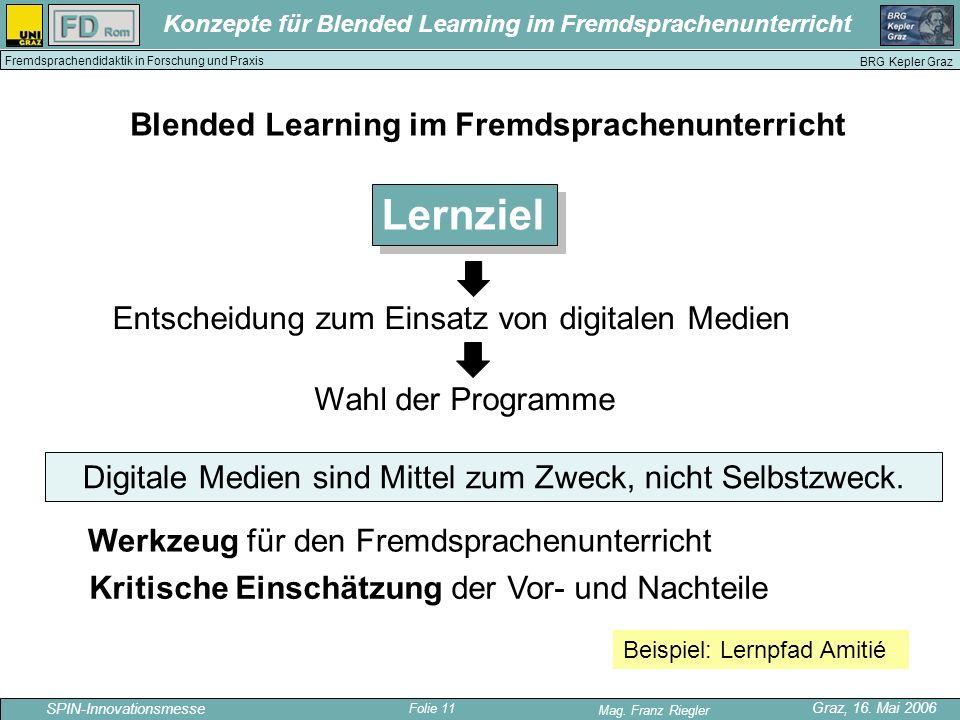 Folie 11 SPIN-Innovationsmesse Graz, 16. Mai 2006 Mag. Franz Riegler Konzepte für Blended Learning im Fremdsprachenunterricht BRG Kepler Graz Fremdspr