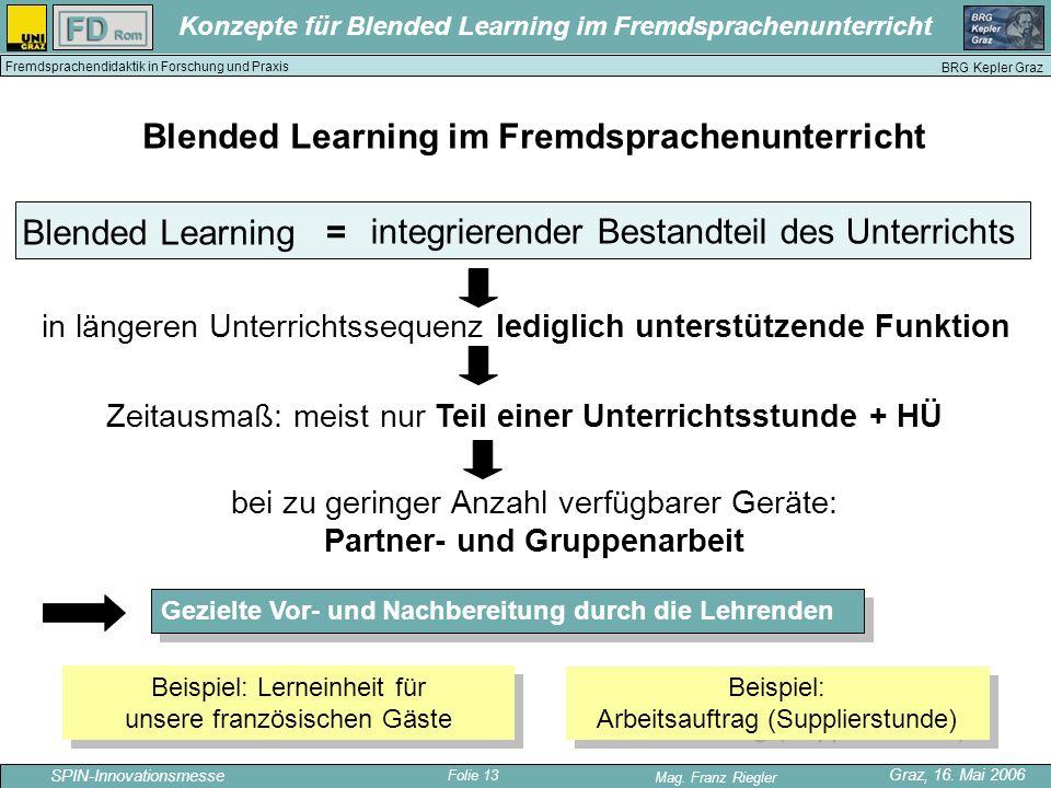 Folie 13 SPIN-Innovationsmesse Graz, 16. Mai 2006 Mag. Franz Riegler Konzepte für Blended Learning im Fremdsprachenunterricht BRG Kepler Graz Fremdspr