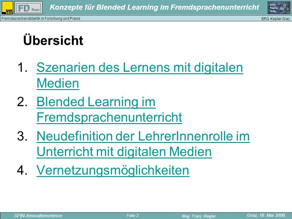 Folie 2 SPIN-Innovationsmesse Graz, 16. Mai 2006 Mag. Franz Riegler Konzepte für Blended Learning im Fremdsprachenunterricht BRG Kepler Graz Fremdspra
