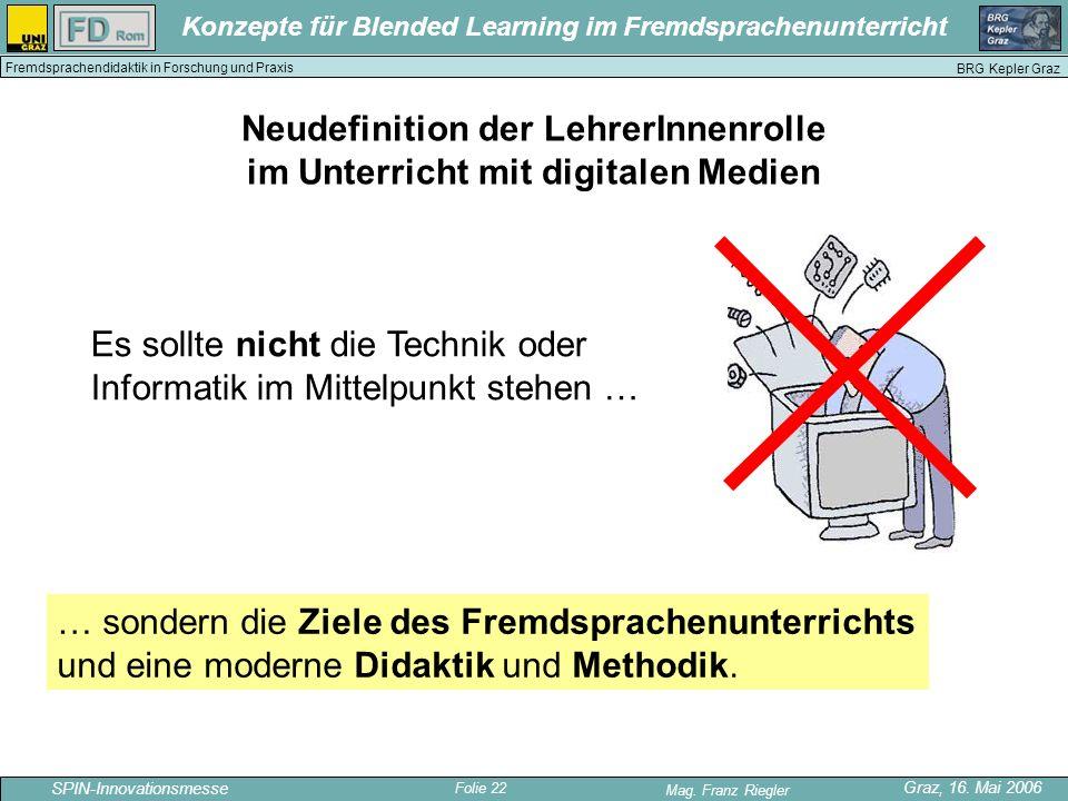 Folie 22 SPIN-Innovationsmesse Graz, 16. Mai 2006 Mag. Franz Riegler Konzepte für Blended Learning im Fremdsprachenunterricht BRG Kepler Graz Fremdspr