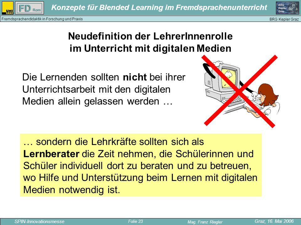 Folie 23 SPIN-Innovationsmesse Graz, 16. Mai 2006 Mag. Franz Riegler Konzepte für Blended Learning im Fremdsprachenunterricht BRG Kepler Graz Fremdspr