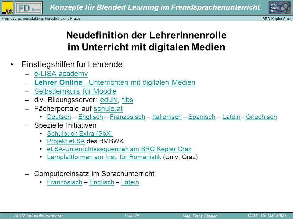Folie 24 SPIN-Innovationsmesse Graz, 16. Mai 2006 Mag. Franz Riegler Konzepte für Blended Learning im Fremdsprachenunterricht BRG Kepler Graz Fremdspr