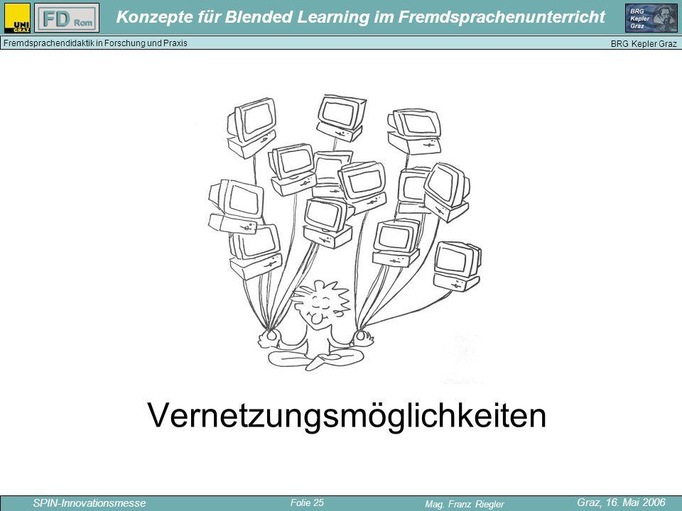Folie 25 SPIN-Innovationsmesse Graz, 16. Mai 2006 Mag. Franz Riegler Konzepte für Blended Learning im Fremdsprachenunterricht BRG Kepler Graz Fremdspr