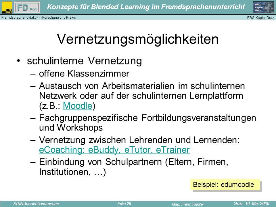Folie 26 SPIN-Innovationsmesse Graz, 16. Mai 2006 Mag. Franz Riegler Konzepte für Blended Learning im Fremdsprachenunterricht BRG Kepler Graz Fremdspr