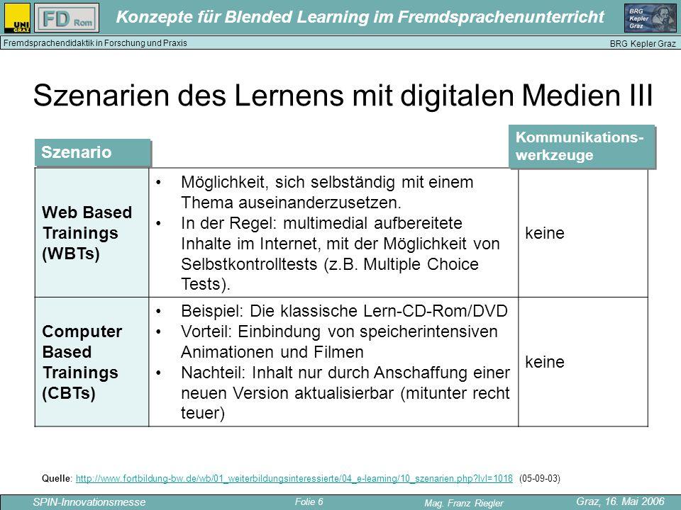 Folie 6 SPIN-Innovationsmesse Graz, 16. Mai 2006 Mag. Franz Riegler Konzepte für Blended Learning im Fremdsprachenunterricht BRG Kepler Graz Fremdspra