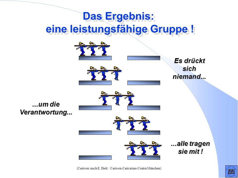 Das Ergebnis: eine leistungsfähige Gruppe ! (Cartoon: nach E. Dietl / Cartoon-Caricature-Contor München) Es drückt sich niemand......um die Verantwort