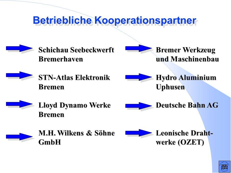 Betriebliche Kooperationspartner Schichau Seebeckwerft Bremerhaven STN-Atlas Elektronik Bremen Lloyd Dynamo Werke Bremen M.H. Wilkens & Söhne GmbH Bre
