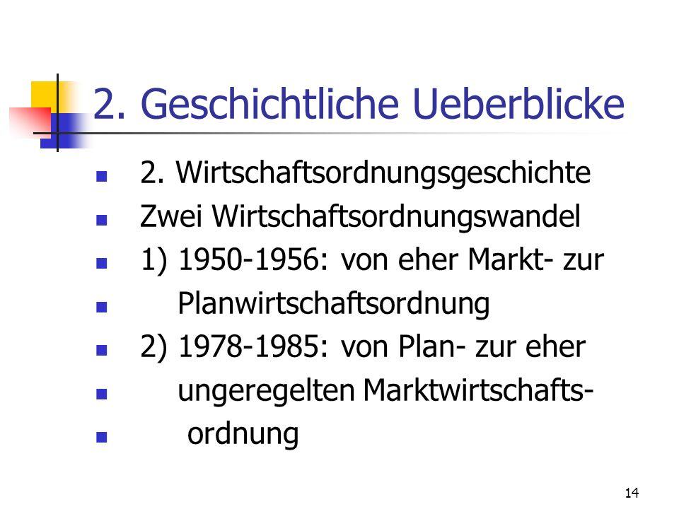 14 2. Geschichtliche Ueberblicke 2. Wirtschaftsordnungsgeschichte Zwei Wirtschaftsordnungswandel 1) 1950-1956: von eher Markt- zur Planwirtschaftsordn