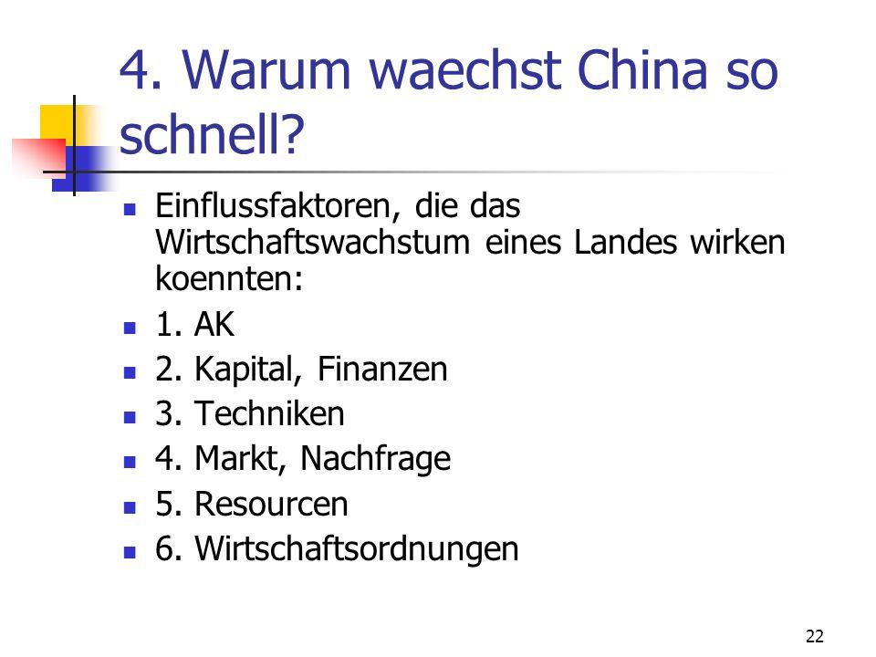 22 4. Warum waechst China so schnell? Einflussfaktoren, die das Wirtschaftswachstum eines Landes wirken koennten: 1. AK 2. Kapital, Finanzen 3. Techni
