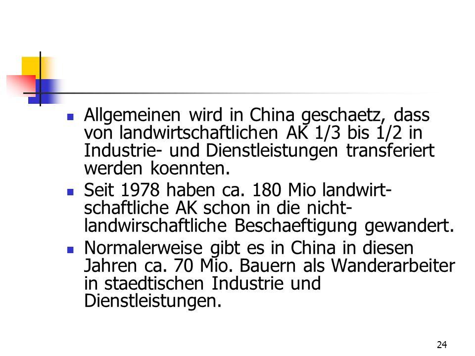 24 Allgemeinen wird in China geschaetz, dass von landwirtschaftlichen AK 1/3 bis 1/2 in Industrie- und Dienstleistungen transferiert werden koennten.