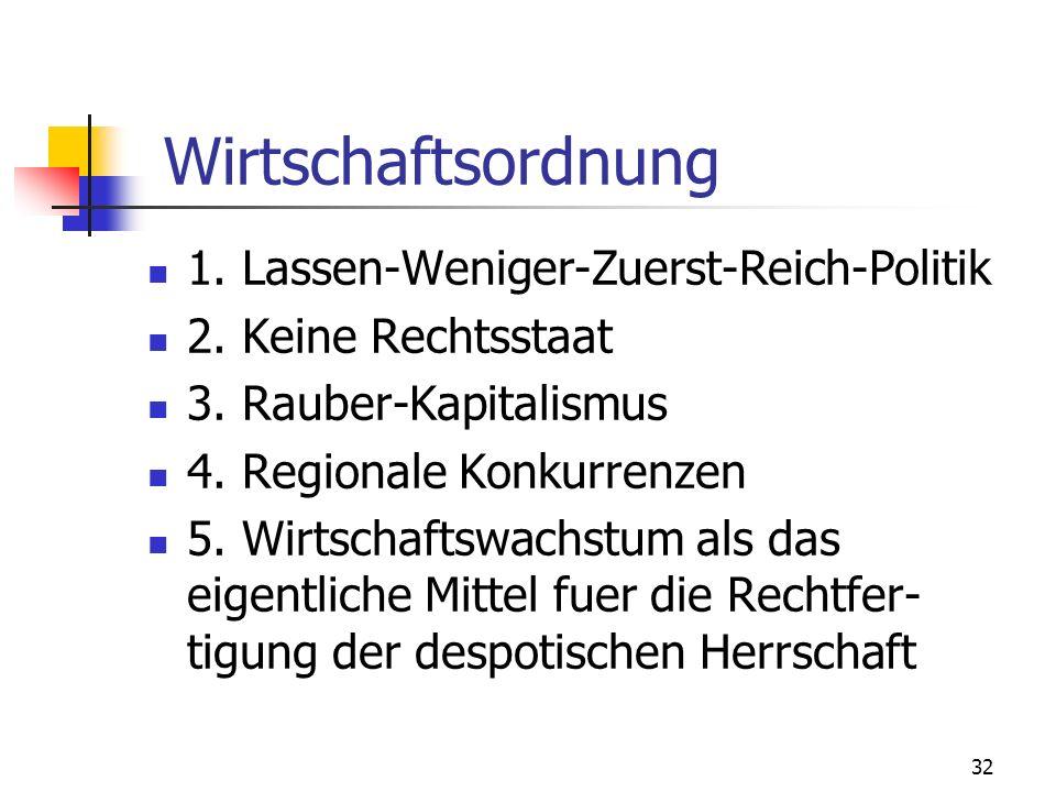 32 Wirtschaftsordnung 1. Lassen-Weniger-Zuerst-Reich-Politik 2. Keine Rechtsstaat 3. Rauber-Kapitalismus 4. Regionale Konkurrenzen 5. Wirtschaftswachs
