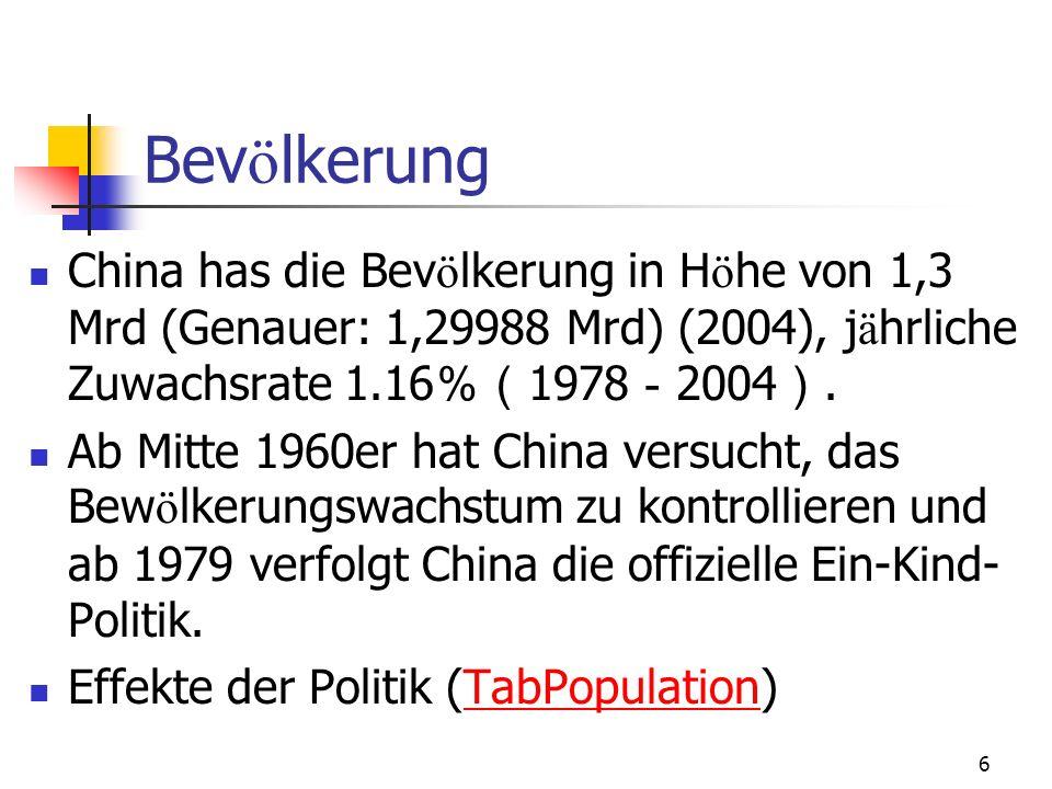 6 Bev ö lkerung China has die Bev ö lkerung in H ö he von 1,3 Mrd (Genauer: 1,29988 Mrd) (2004), j ä hrliche Zuwachsrate 1.16 1978 2004. Ab Mitte 1960